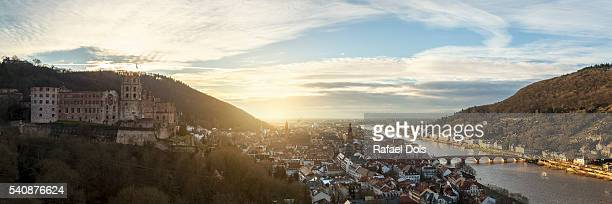 Panoramic view over Heidelberg at sunset