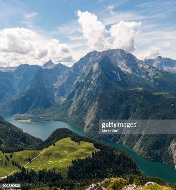 panoramic view over lake koenigsee from the jenner, watzmann, schoenau am koenigssee, national park berchtesgadener land, bavaria, germany - watzmann massif stock photos and pictures