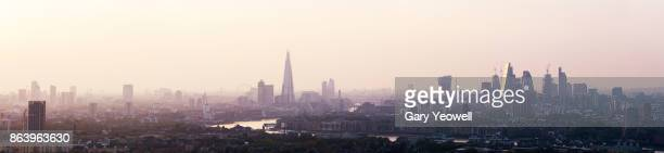 Panoramic view over London city skyline at sunset