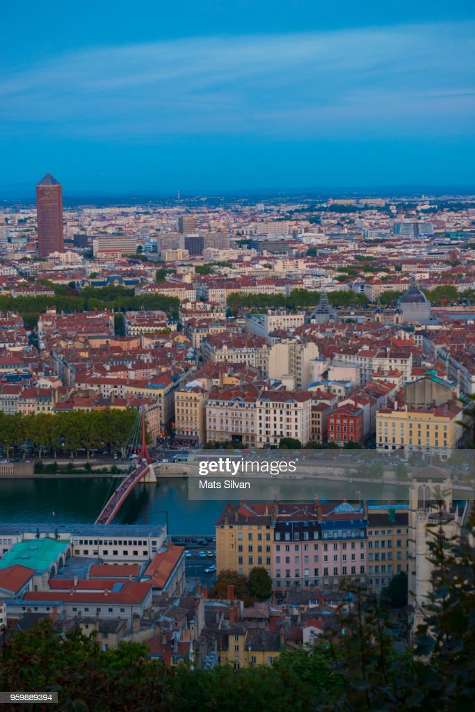 Panoramic View over Lyon in Dusk : Stock-Foto