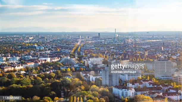panoramic view over munich to the alps - luftaufnahme stock pictures, royalty-free photos & images