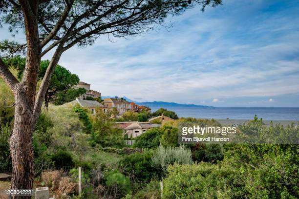 panoramic view over ogliastro and the mediterranean ocean - finn bjurvoll stock pictures, royalty-free photos & images