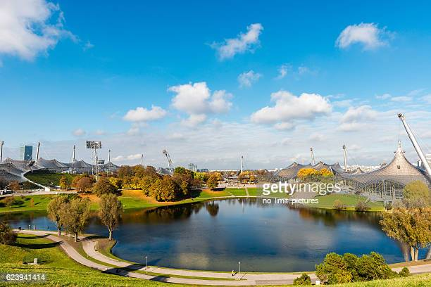 panoramic view over olympic park in munich - olympiastadion munich stock pictures, royalty-free photos & images