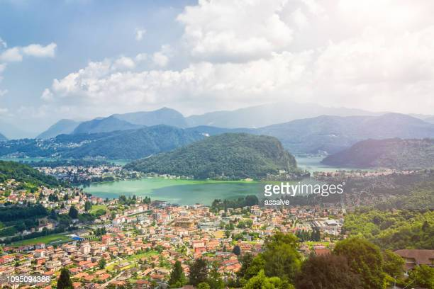 panoramic view over ponte tresa with lake lugano - varese stock pictures, royalty-free photos & images