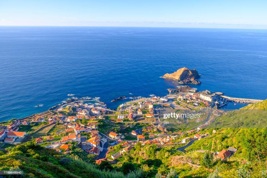 Panoramic view over Porto Moniz village on the Northern coastline of Madeira island : Stock Photo