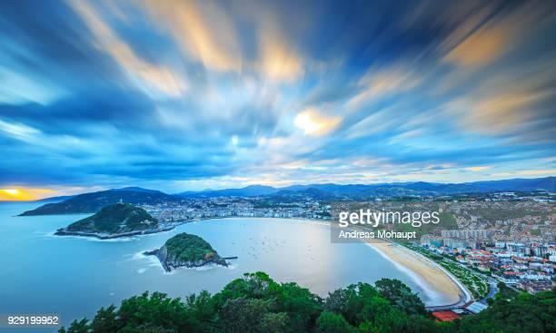 Panoramic view over San Sebastian at a dramatic sunrise