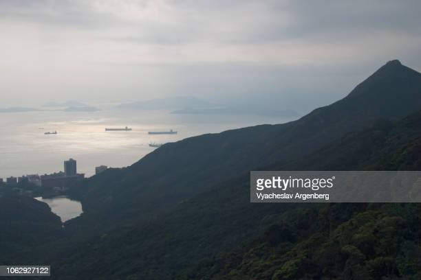 panoramic view over south china sea, south of hong kong island mountain peaks - argenberg stock pictures, royalty-free photos & images