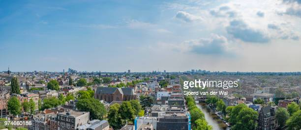 """panoramic view over springtime amsterdam with the famous canals - """"sjoerd van der wal"""" stock pictures, royalty-free photos & images"""