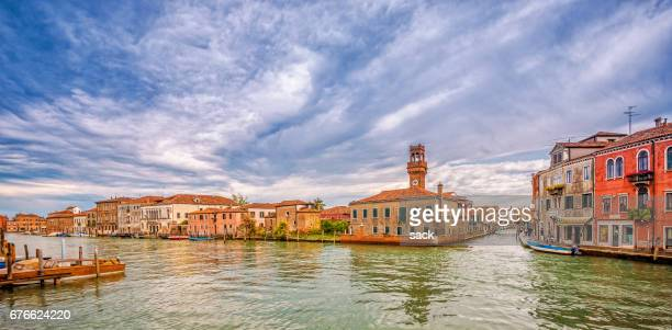 panoramic view over the canals of murano - murano stock pictures, royalty-free photos & images