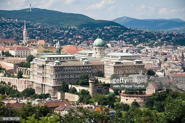 Panoramic view over the Castle Hill of Budapest with Buda Royal Palace and the Castle District .