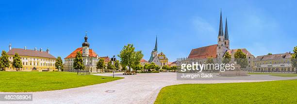 panoramic view over the chapel square of altoetting - altötting stock photos and pictures