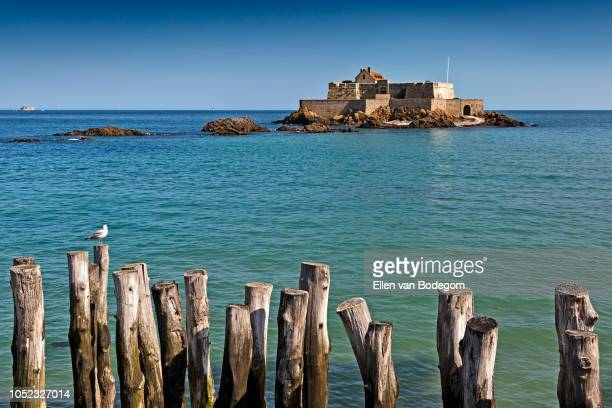 Panoramic view over the Fort National, a tidal island in the English Channel near Saint-Malo, at high tide