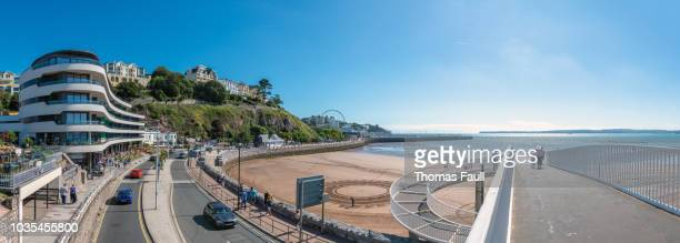 panoramic view over the seafront in torquay - torquay,_victoria stock pictures, royalty-free photos & images