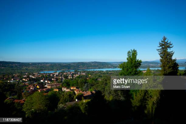 panoramic view over varese and lake varese - varese stock pictures, royalty-free photos & images