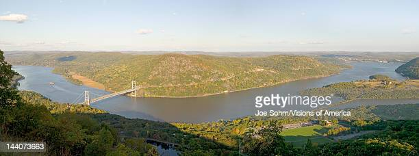 Panoramic view overlook in autumn of Bear Mountain Bridge and Hudson Valley and River at Bear Mountain State Park New York