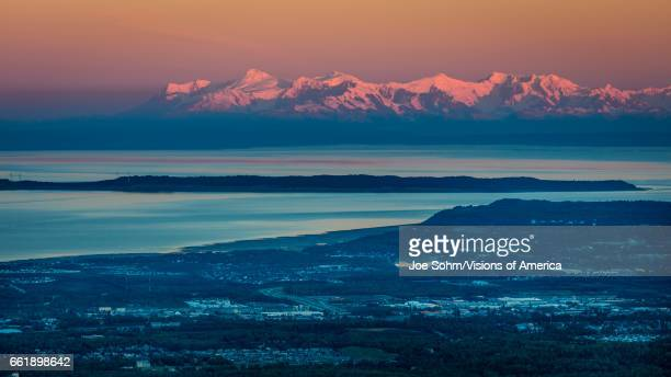 Panoramic View Overlooking Anchorage Alaska at sunrise