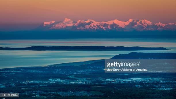 Panoramic View Overlooking Anchorage Alaska at sunrise