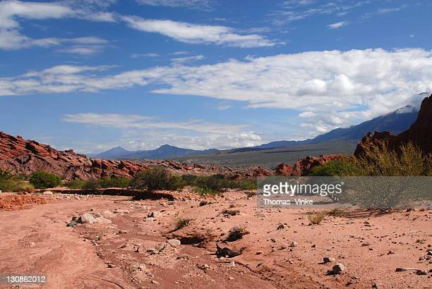 Panoramic view, red sandstone formations, Quebrada del Río Las Conchas, Cafayate, Salta Province, Andes, Agentina, South America