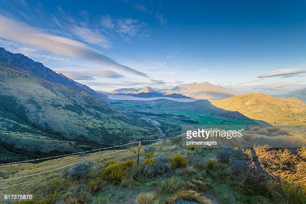 Panoramic view remarkable peak at queen town  in new zealand