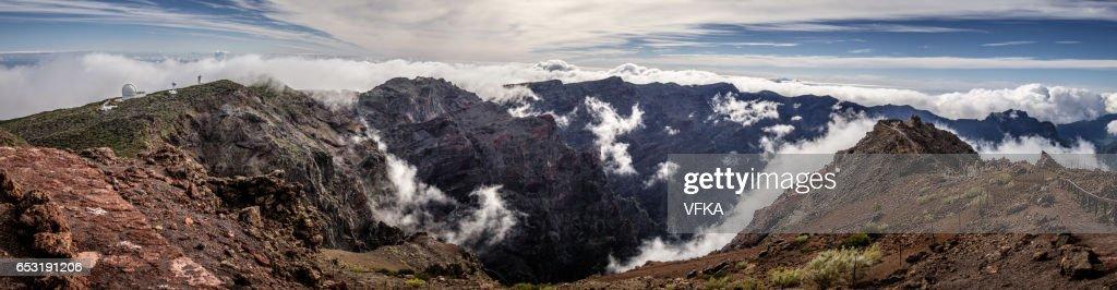 Panoramic view Roque de los Muchacos, La Palma, Spain : Stock Photo