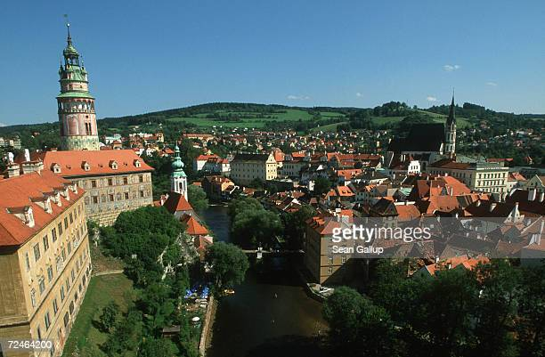 A panoramic view shows Krumlov Castle left and the historic Inner Town district of Cesky Krumlov August 17 2000 in southern Czech Republic Cesky...