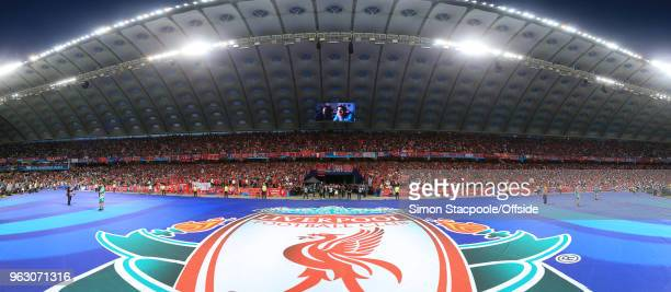 A panoramic view shows the Liverpool fans ahead of the UEFA Champions League Final match between Real Madrid and Liverpool at the NSC Olimpiyskiy...
