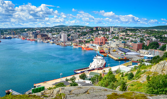Panoramic view, St John's Harbour in Newfoundland Canada. 596797686