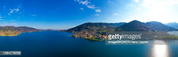 panoramic view tegernsee, village tegernsee and monastery tegernsee, upper bavaria, bavaria, germany - tegernsee stock pictures, royalty-free photos & images