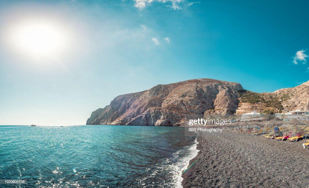 Panoramic View The Black Sand Beach In Santorini Greece High