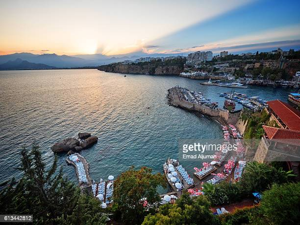 Panoramic view the old harbor in the old town (Kaleici) of Antalya, Turkey