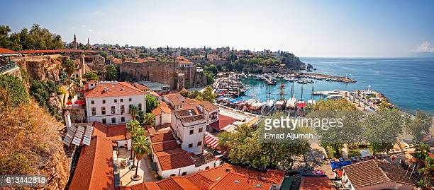 panoramic view the old harbor in the old town (kaleici) of antalya, turkey - antalya stock-fotos und bilder