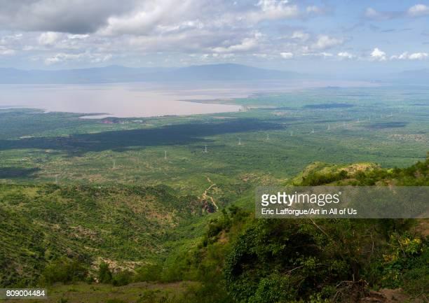 Panoramic view the power line coming from Gibe dam and going to Kenya Gamo Gofa Zone Ganta Ethiopia on June 15 2017 in Ganta Ethiopia