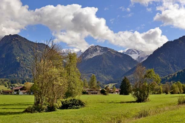 Panoramic view to the mountains near Oberstdorf, Riefenkopf 1748m and Kegelkopf 1959m, Allgaeu Alps, Allgaeu, Bavaria, Germany