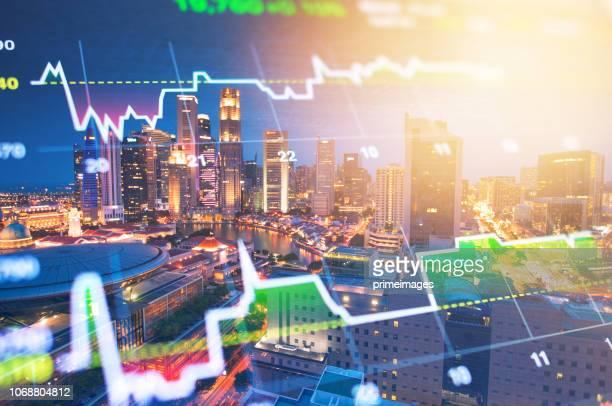 panoramisch uitzicht over stedelijke stadsgezicht singapore met investeringen thema achtergrond - bullmarkt stockfoto's en -beelden