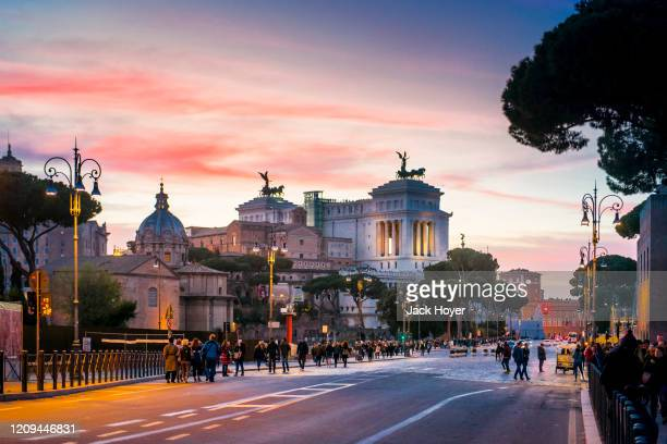 panoramic view with colorful sunset - historic district stock pictures, royalty-free photos & images