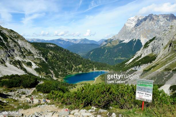 Panoramic views from Coburg Hut to Seebensee Lake and Mt Zugspitze, Ehrwald, Tyrol, Austria, PublicGround