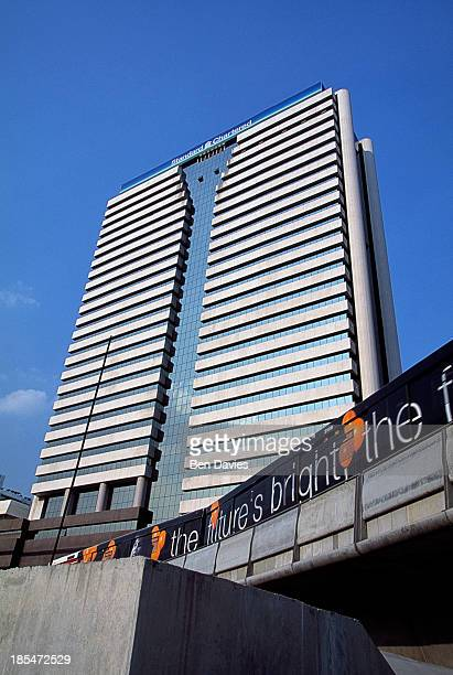 Panoramic views over Bangkok's skytrain on Sathorn Road to the soaring high rise headquarters of Standard Chartered Nakornthon Bank During the late...