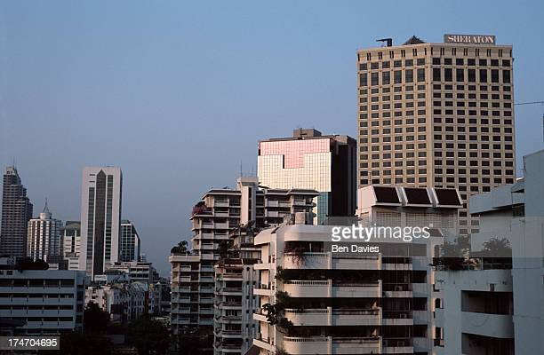Panoramic views over busy Sukhumvit Road towards the Sheraton Hotel in Bangkok the capital of Thailand The country boasts one of the fastest growing...