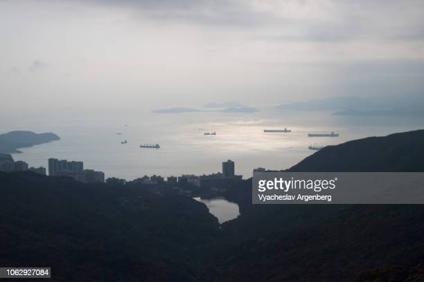 panoramic views over south china sea, hong kong island mountain peaks - argenberg stock pictures, royalty-free photos & images