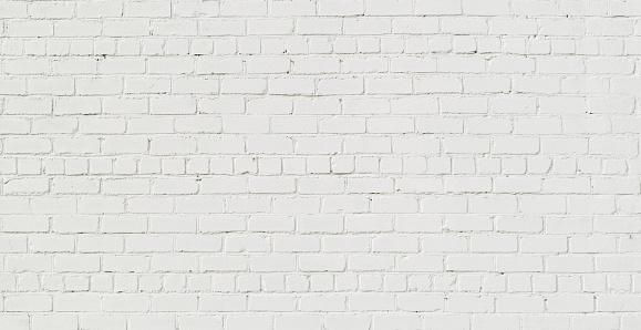 Panoramic White Brick Wall Background 1029704388