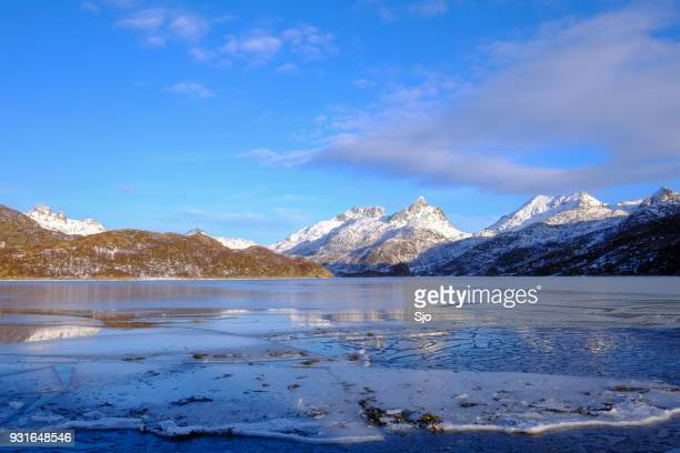 "panoramic winter view in the helfjord in northern norway - ""sjoerd van der wal"" or ""sjo"" stock pictures, royalty-free photos & images"