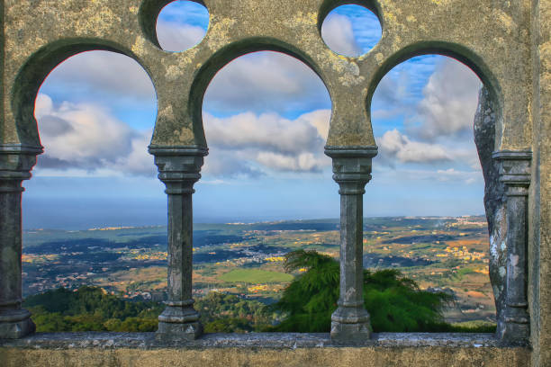 Panoramica view of Portugal coastline from an Arabian style arches in Sintra.