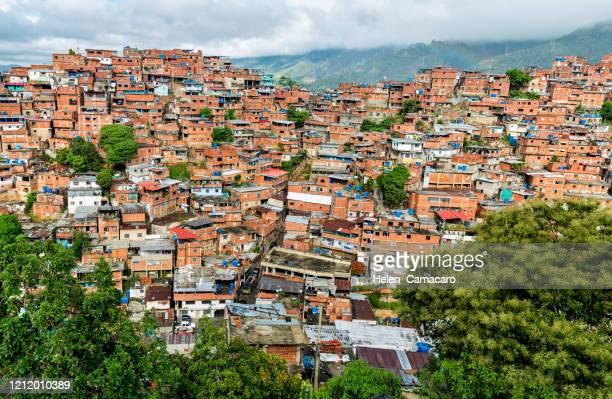 panorammic view of poverty zones in caracas, venezuela - カラカス ストックフォトと画像