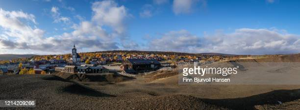 panoranic view over the historical city of røros norway - finn bjurvoll stock pictures, royalty-free photos & images