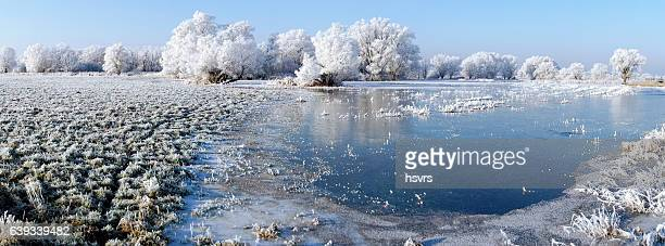 panormic winter landscape of Havel river
