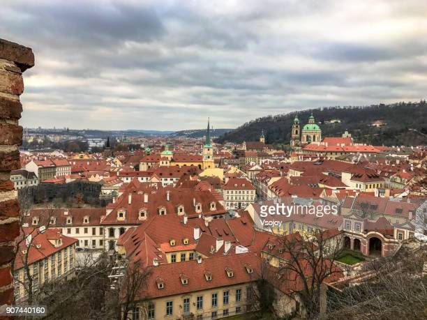 panoromaic views from the end of prague's old castle stairs (stare zamecke schody), czech republic - vsojoy stockfoto's en -beelden