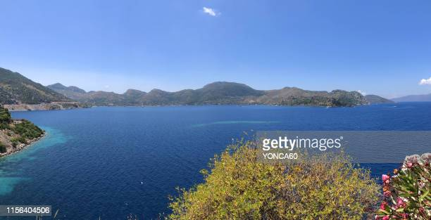 panoromic view of selimiye village - aegean sea stock pictures, royalty-free photos & images