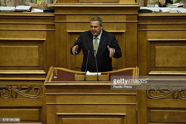 PARLIAMENT ATHENS ATTIKI GREECE Panos Kamenos leader of Independent Greeks party and Minister of Defense during his speech in Hellenic Parliament