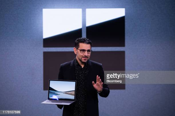 Panos Panay, chief product officer of Microsoft Corp., displays the new Surface Laptop 3 computer during a Microsoft product event in New York, U.S.,...
