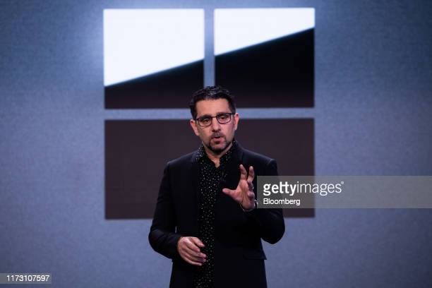 Panos Panay, chief product officer of Microsoft Corp., speaks during a Microsoft product event in New York, U.S., on Wednesday, Oct. 2, 2019....
